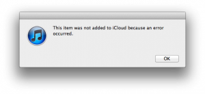 This item was not added to iCloud because an error occurred.